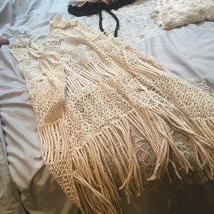 Crochet fringe hippie boho gypsy vest long crepe